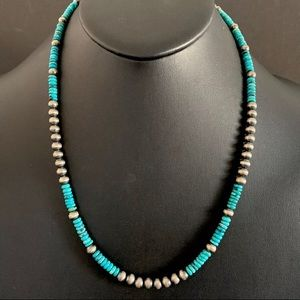 Jewelry - S.Silver Turquoise W Navajo Pearls Bead Necklace